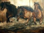 Triptyque, huile sur toile, 60 x 72 po, vendu