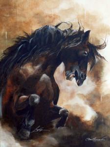 Acrylique sur toile, 30 x 24 po, vendu